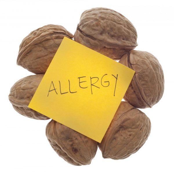 Грецкие орехи и листок со словом allergy