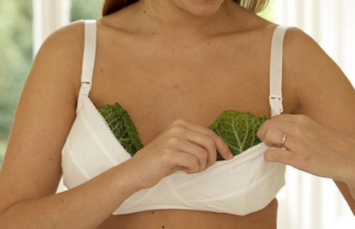 Женщина прикладывает капустные листья к груди