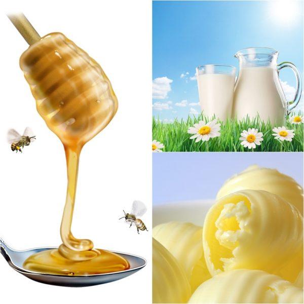 Молоко, сливочное масло и мёд