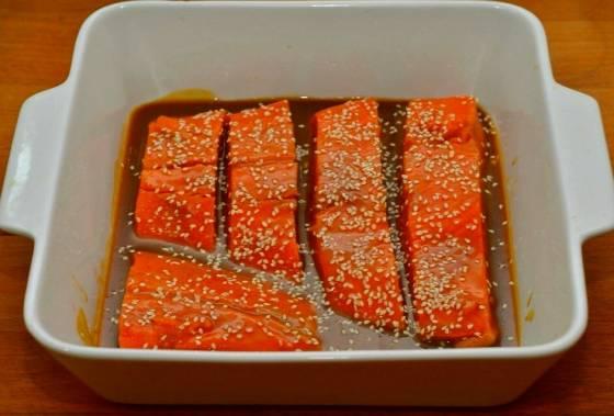 Рыба в маринаде из соевого соуса