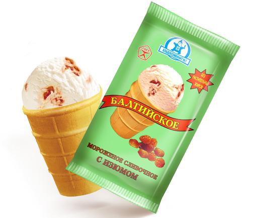 Упаковка и порция сливочного мороженого в вафельном стаканчике