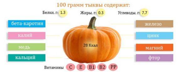 Содержание полезных веществ в тыкве на 100 г продукта