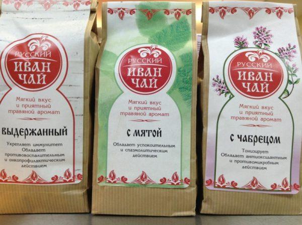 Три вида иван-чая: выдержанный, с мятой и с чабрецом