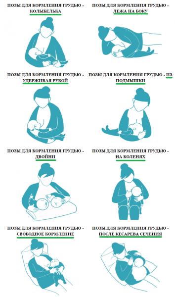 Удобные позы для кормления новорожденного