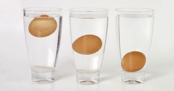 Яйца в стаканах с водой
