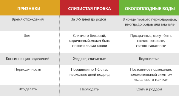Таблица различий между амниотической жидкостью и слизистой пробкой