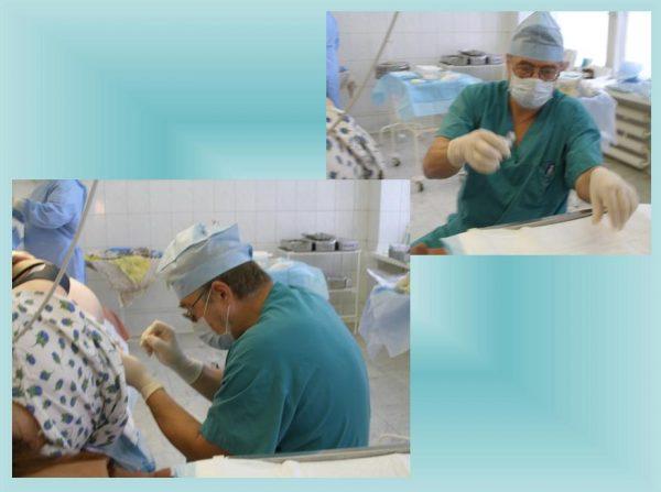 анестезиолог берёт шприц, вводит в спину пациентки