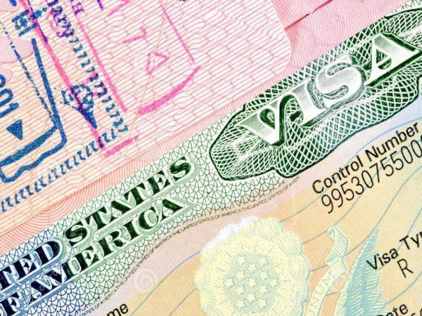 фрагмент визы США в загранпаспорте
